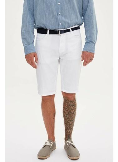 DeFacto 5 Cep Slim Fit Bermuda Beyaz